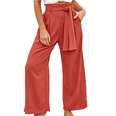 ECOWISH Womens High Waist Pants with Belt