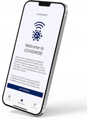 The Covidwise app's opening screen.