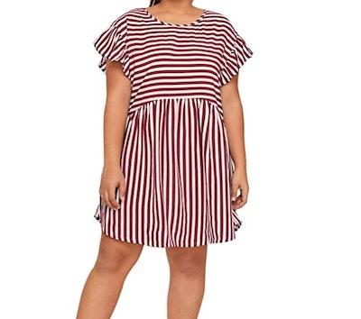 Milumia Women's Plus Size Pleated Short Dress