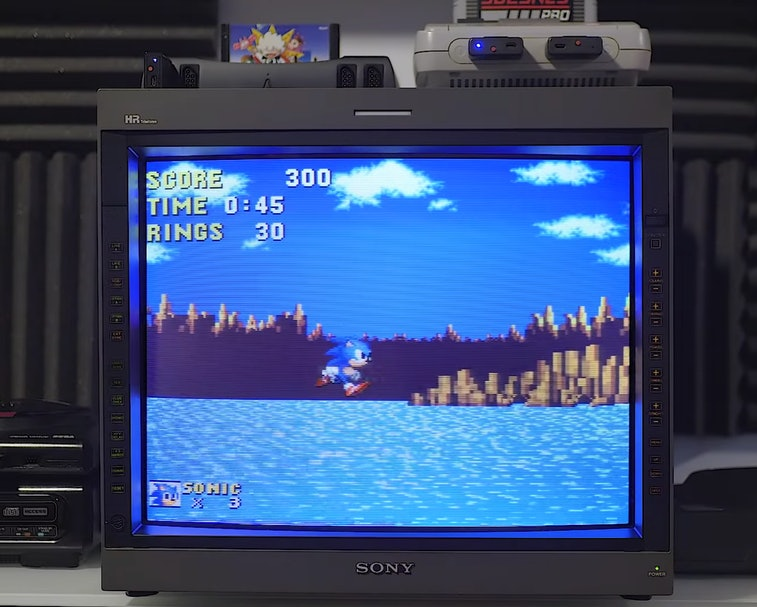 Sonic the Hedgehog running on the SNES.