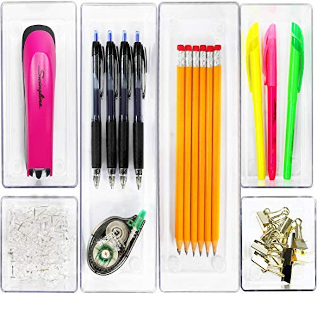 Simple Houseware Clear Plastic Desk Drawer Organizers