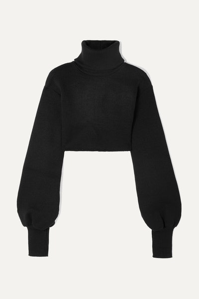 Cropped Ribbed-Knit Turtleneck Sweater