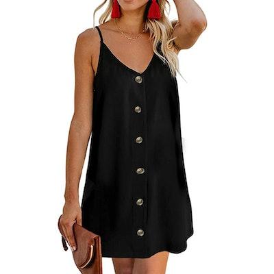 AlvaQ Women Spaghetti Strap Button Down Dress