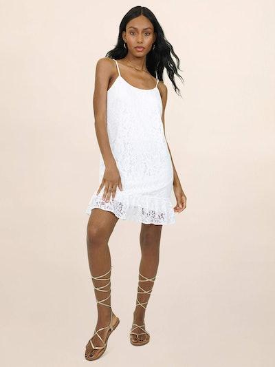 Lace Flounce Hem Mini Dress
