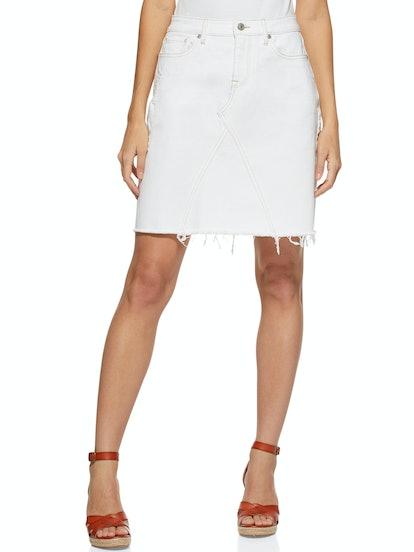 Raw Edge Jean Mini Skirt