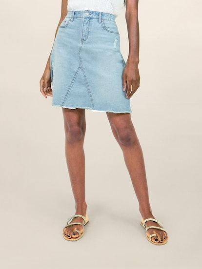 A-Line Fray Hem Jean Skirt