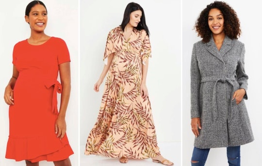 Red dress, floral dress, and grey coat: sampling of maternity clothes you can rent from motherhood rental