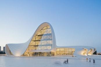 The Heydar Aliyev cultural center, designed by Zaha Hadid.