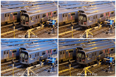 100 percent crop low-light comparison between Samsung Galaxy Note 20 Ultra, S20 Ultra, iPhone 11 Pro, and OnePlus 8 Pro.