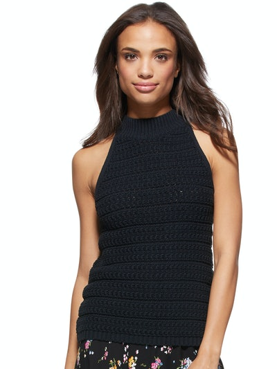 Sleeveless Crochet Turtleneck Sweater
