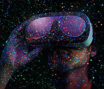 A man using a virtual reality headset.