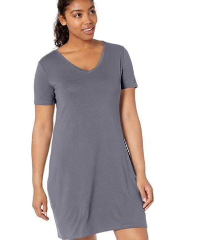 Daily Ritual Jersey Short-Sleeve V-Neck T-Shirt Dress