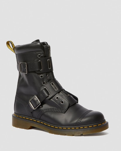 Dr. Martens 1490 Quynn Smooth Leather Buckle Lace Up Boots