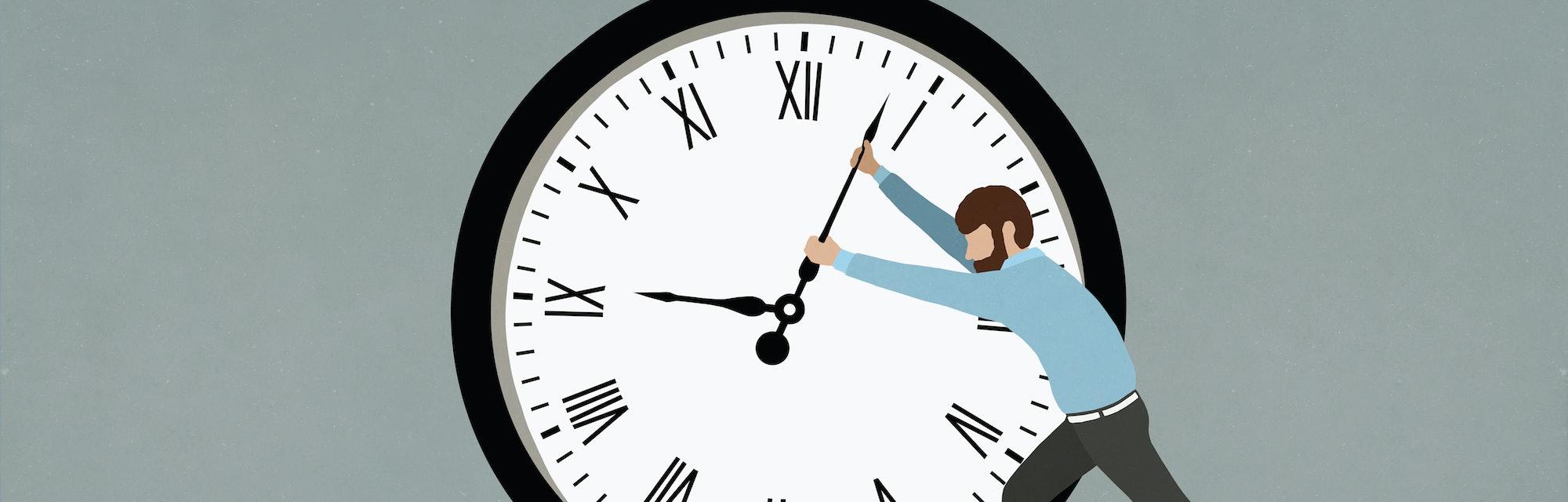 Man pushing hands of large clock.
