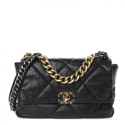 Goatskin Quilted Large 19 Flap Black