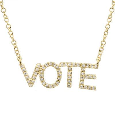 Ellie Jay 14K Gold Diamond Vote Necklace