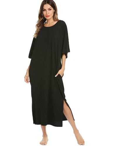 Ekouaer Round Neck Lounge Dress