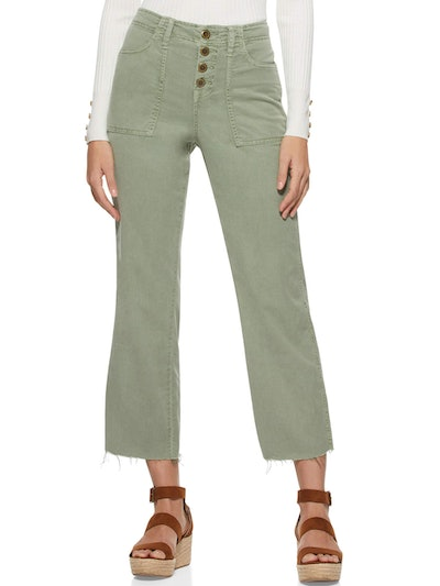 Cropped Button Front Cargo Pants
