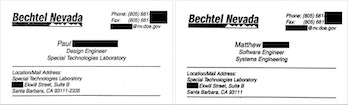 Business cards for two Bechtel employees involved in the secret iPod.