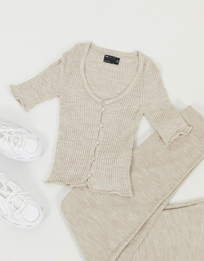 Co-Ord Rib Cardigan With Short Sleeve In Oatmeal