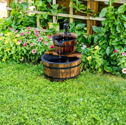 """23"""" Wooden Barrel Water Fountain - Brown - Backyard Expressions"""