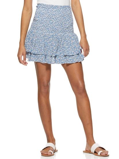 Smock Waist Ruffle Mini Skirt