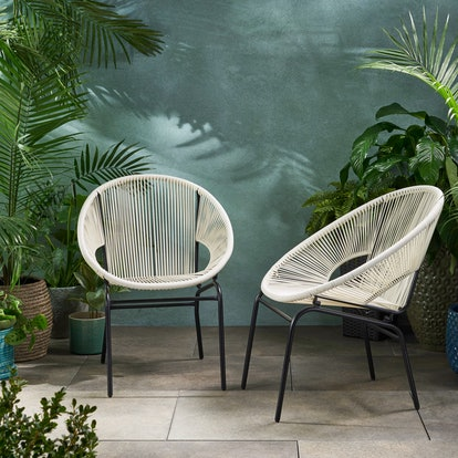 Hayk Outdoor Modern Faux Rattan Club Chair, Set of 2, White and Black