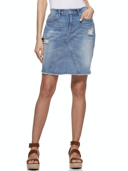 Destructed A-Line Jean Skirt