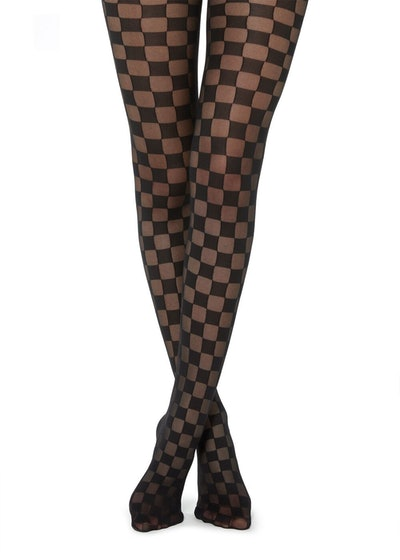 Sheer Tights With Chequered Pattern