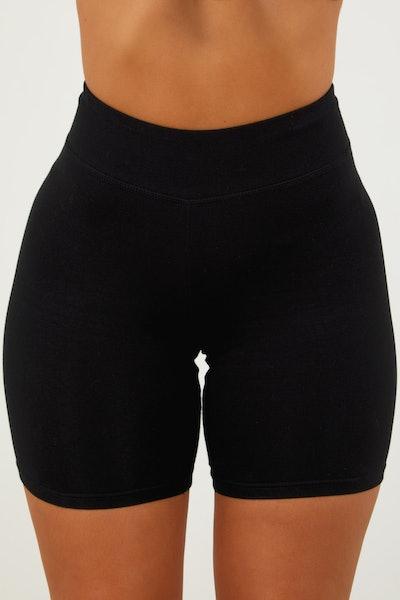 Black Cotton Biker Shorts