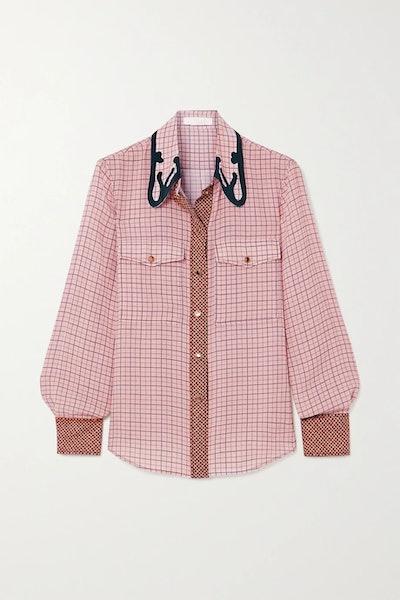 Checked Silk-Crepe Shirt