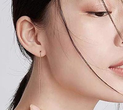 Gintan Sterling Silver Long Chain Threader Earrings