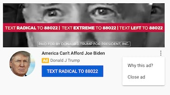 """A picture of Trump's YouTube ad showing where to click to """"Close Ad."""""""