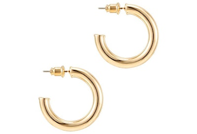 PAVOI 14K Gold Colored Lightweight Chunky Open Hoops