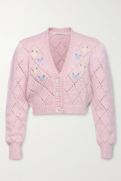 Cropped Embroidered Pointelle-Knit Alpaca Blend Cardigan
