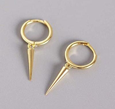 Minimalist Spike Dangle Drop Hoop Earrings