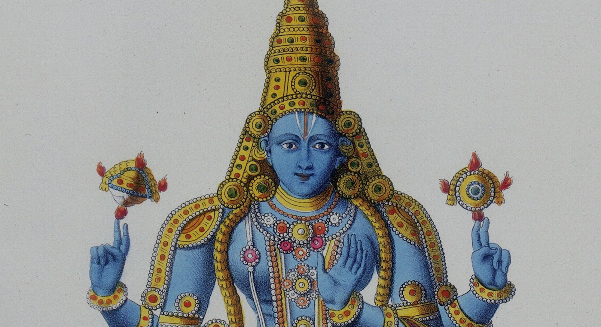 Matsya avatar of Vishnu, 19th-century lithograph.
