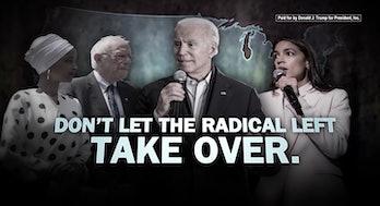 A photo of Ilhan Omar, Bernie Sanders, Joe Biden, and Alexandia Ocasio-Cortez.