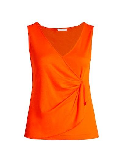 Joan Vass Plus Size Draped Sleeveless Top
