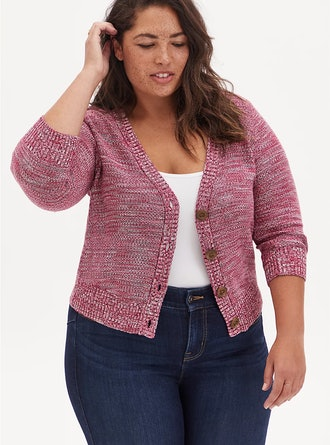 Red Space-Dye Bottom Front  Crop Cardigan