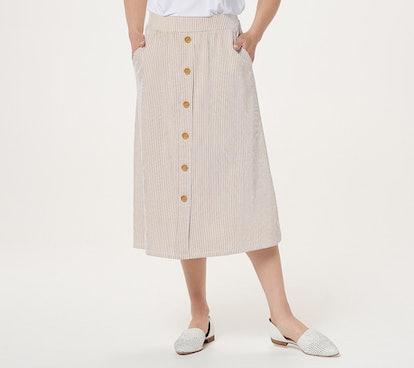 Denim & Co. Seersucker Button Front Midi Skirt with Pockets