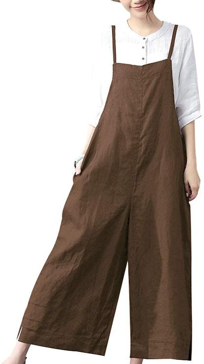 YESNO Women Casual Cropped Bib Pants Wide Leg Jumpsuits