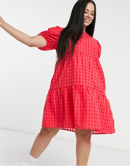 Curve Tiered Smock Dress In Check