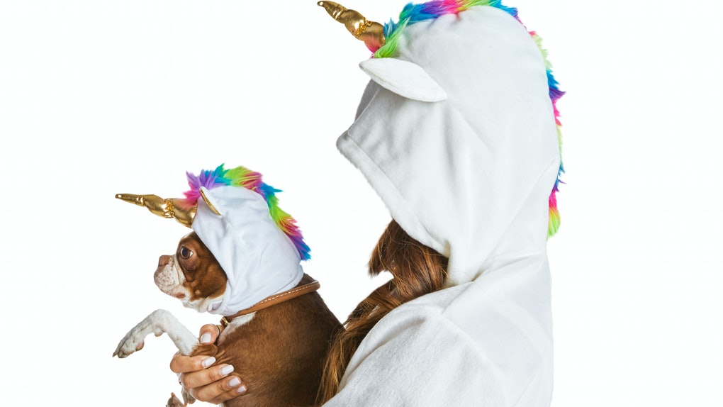 A woman, in a unicorn costume, holds her dog, who is also in a unicorn costume.