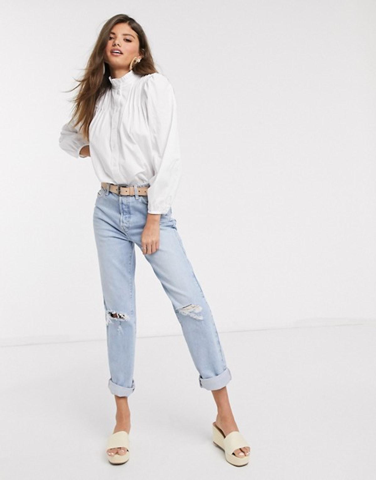 Mango Pie Crust Collar Romantic Shirt in White