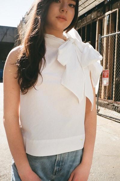 Cotton Poplin One Shoulder Bow Blouse