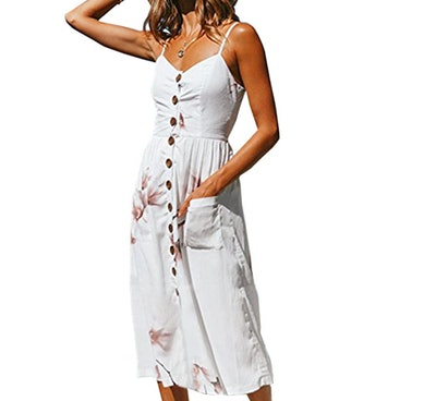 Angashion Women's Button Down Swing Midi Dress