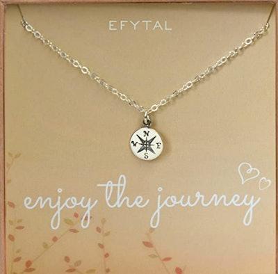 EFYTAL Sterling Silver Compass Necklace
