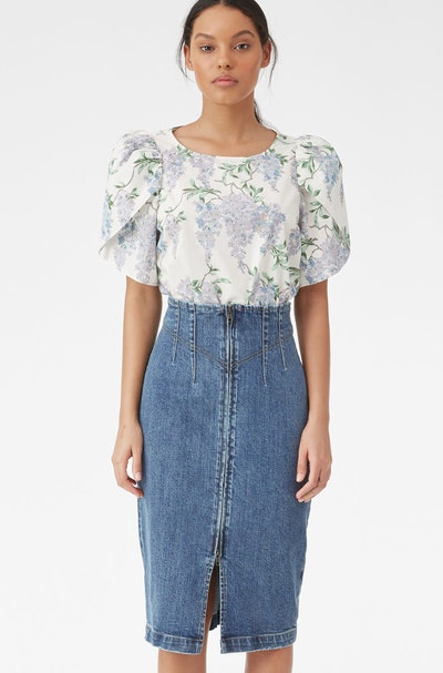 LA VIE DRY INDIGO DENIM SKIRT