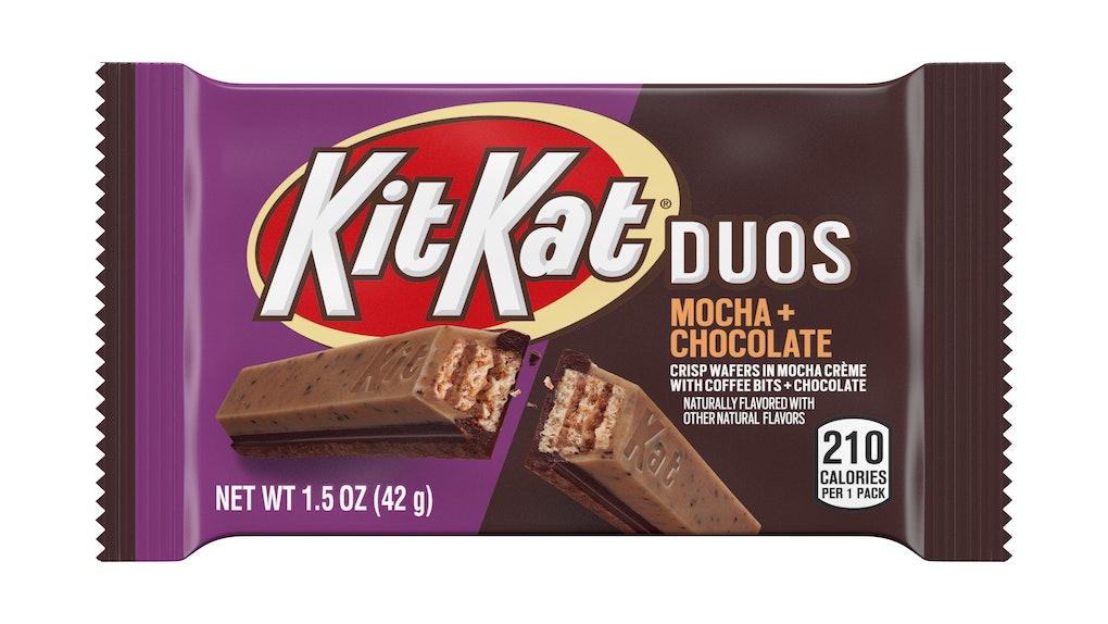 This new Kit Kat Duos Mocha and Chocolate Flavor hits shelves beginning November.
